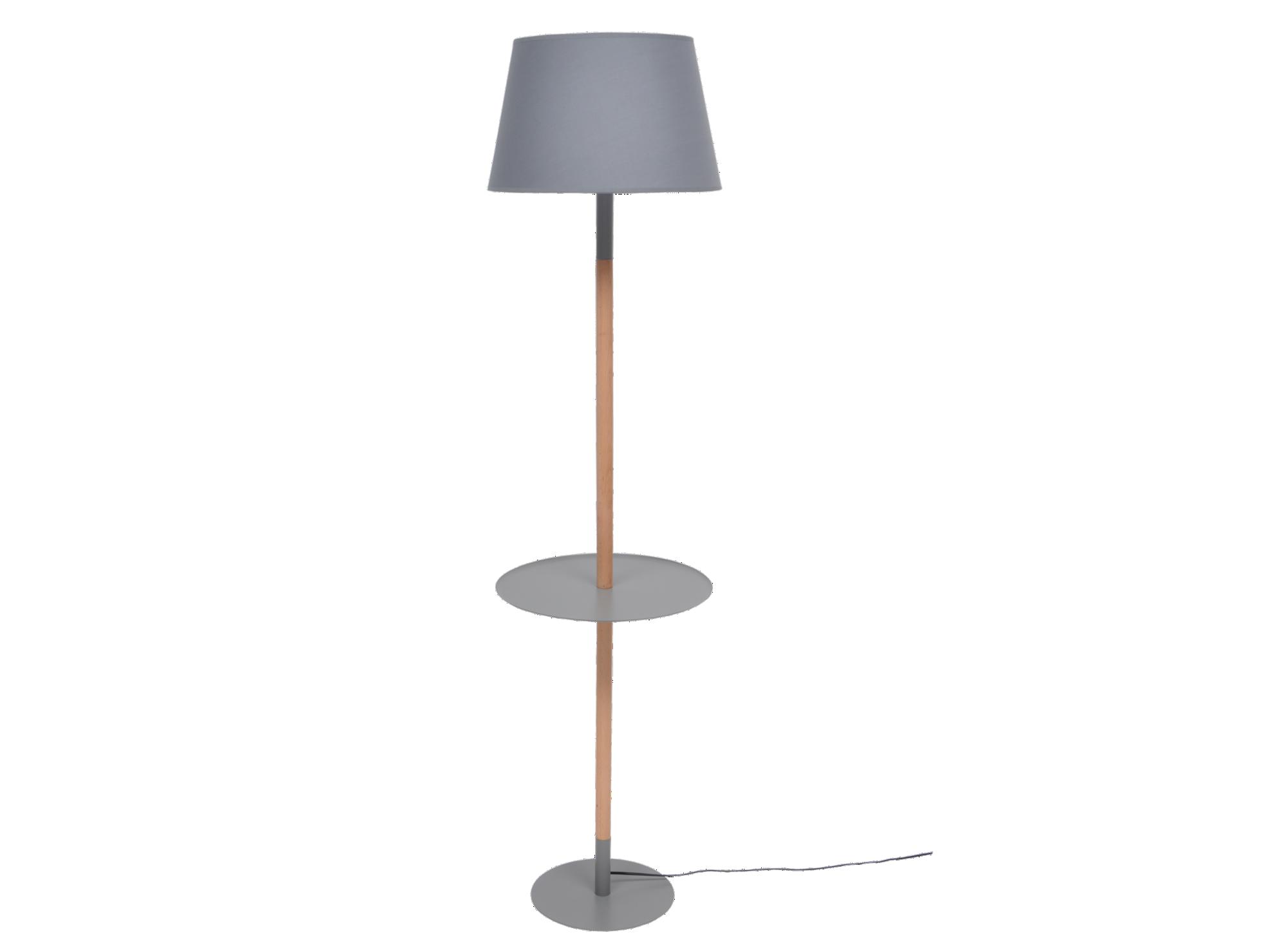 Lampadaire h160cm bois/gris socle en metal laque epoxy coloris gris.  ...