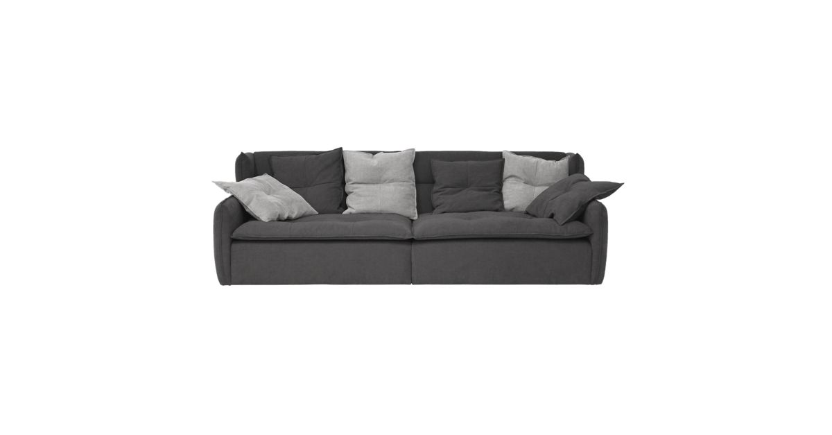 Canape fixe 4 places tissu gris anthracite fly for Canape relax fly