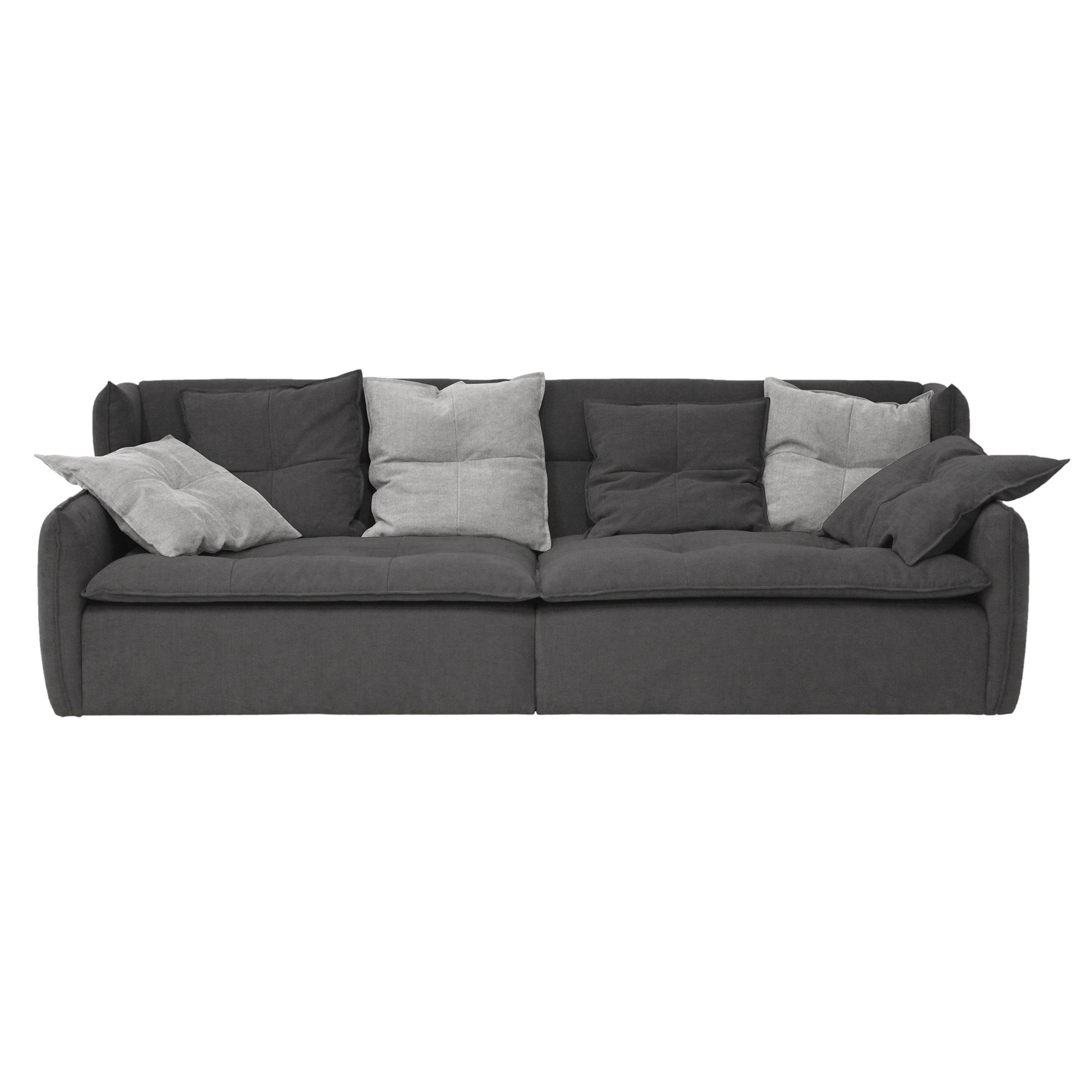 canape fixe 4 places tissu gris anthracite fly
