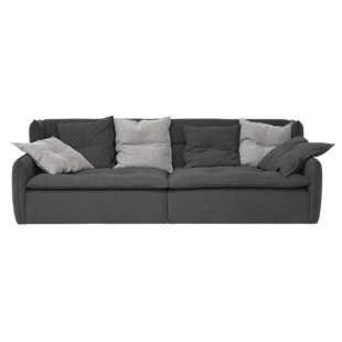 FLY-canape fixe 4 places tissu gris anthracite