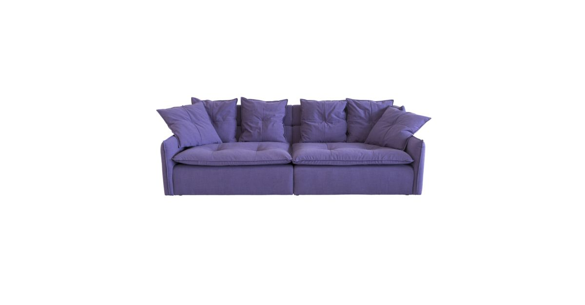 Canape fixe 4 places tissu violet fly - Protege canape d angle ...