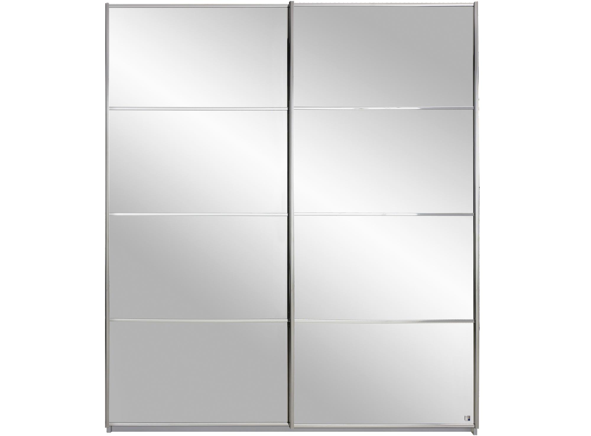 Armoire 2 portes coulissantes l181cm gris miroir fly for Armoire portes coulissantes fly