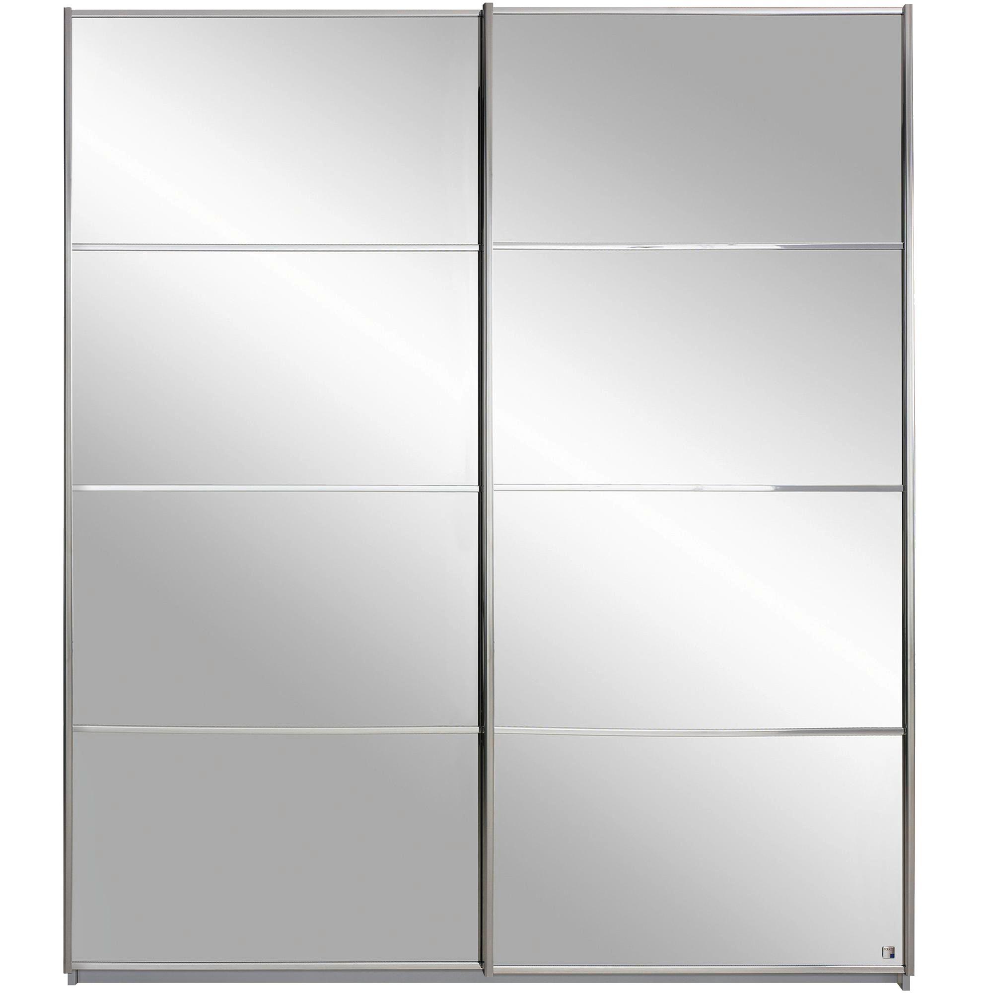 Armoire 2 portes coulissantes l226cm gris miroir Armoire