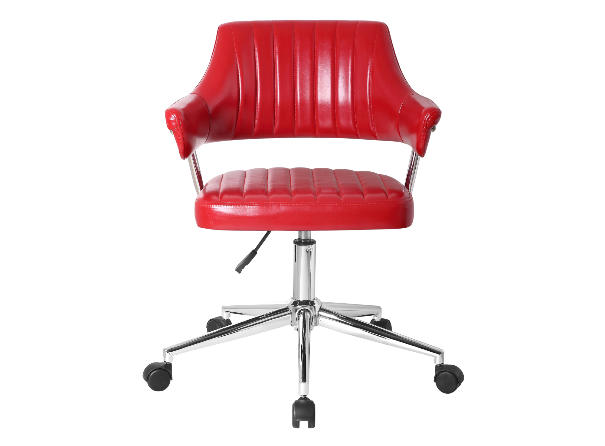 fauteuil de bureau pu rouge pieds chrome fly. Black Bedroom Furniture Sets. Home Design Ideas