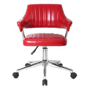 FLY-fauteuil de bureau pu rouge/pieds chrome