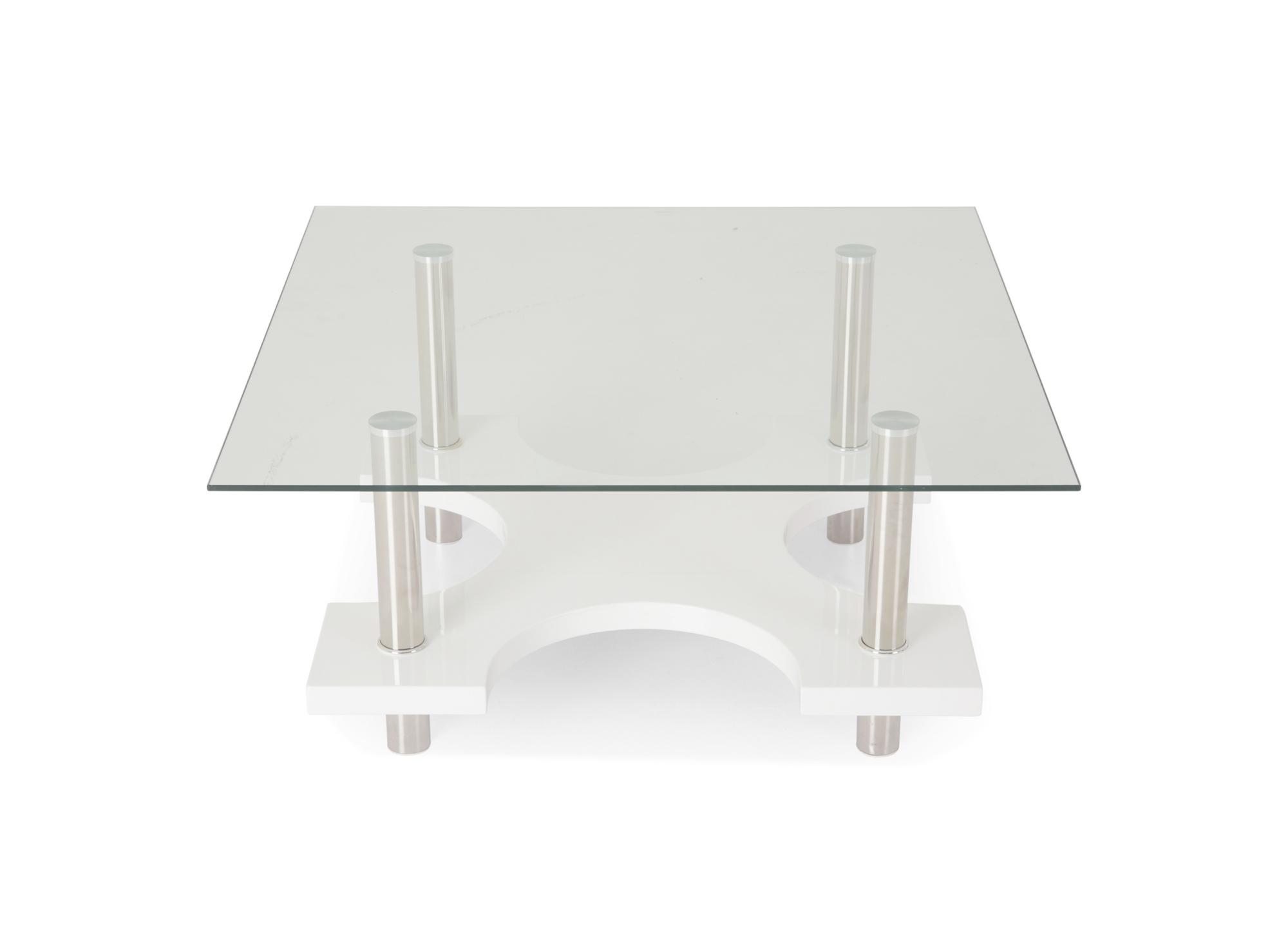 Table basse carree. 2 plateaux. pietement en acier inoxydable. platea ...