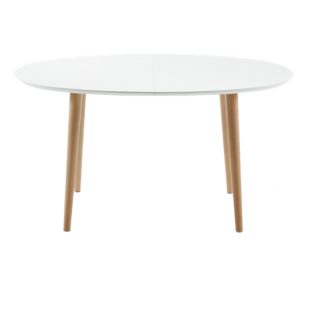 FLY-table extensible ovale blanc/hetre