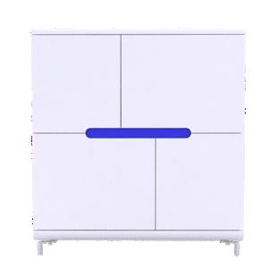 FLY-rangement haut 4 portes blanc+4 bandeaux couleurs