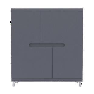 FLY-rangement haut 4 portes gris et bandeau gris