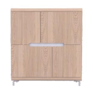 FLY-rangement haut 4 portes chene et bandeau blanc