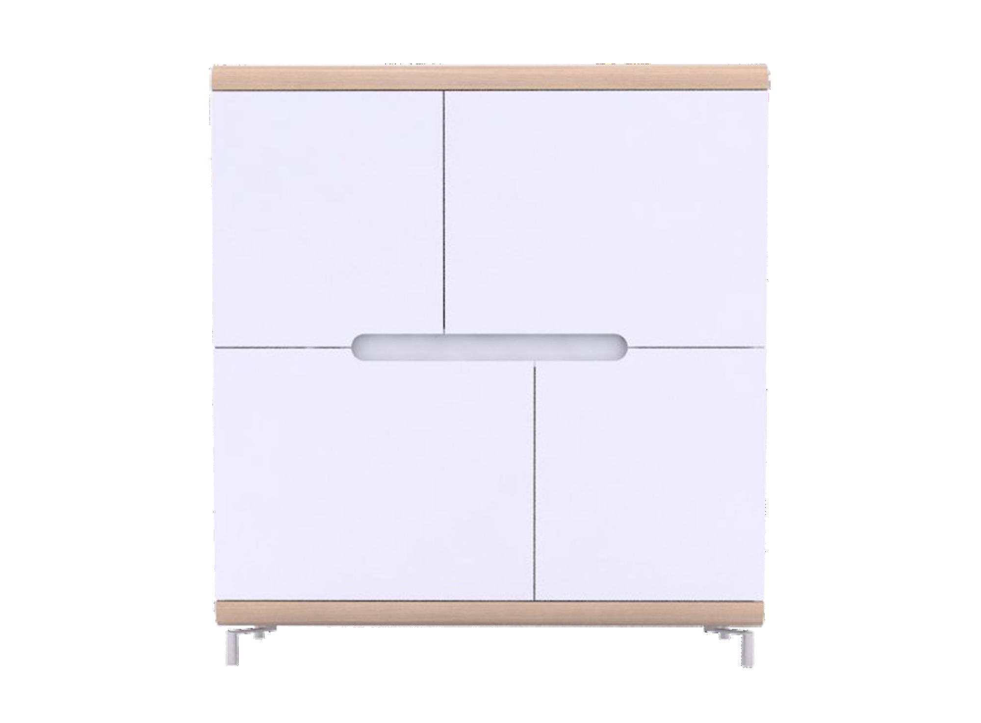 Rangement haut 4portes chene / blanc. structure panneau de particules ...