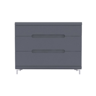 FLY-commode 3 tiroirs gris+bandeau gris
