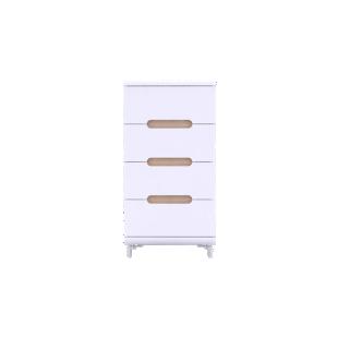 FLY-chiffonnier 4 tiroirs blanc et 4 bandeaux couleurs