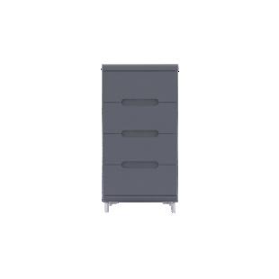 FLY-chiffonnier 4 tiroirs gris et bandeau gris