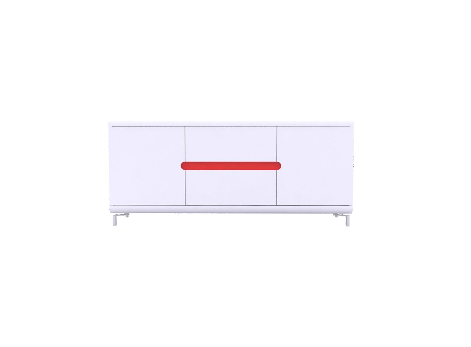Bahut bas 2portes 2tiroirs blanc/4 bandeaux de couleur structure en p ...