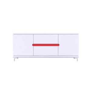 FLY-bahut bas 2 portes 2 tiroirs blanc/4 band. couleur