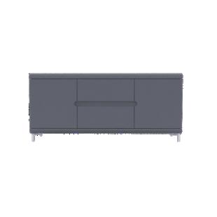 FLY-bahut bas 2 portes 2 tiroirs gris et bandeaux gris