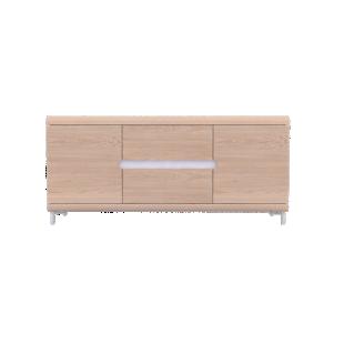 FLY-bahut bas 2 portes 2 tiroirs chene+bandeau blanc