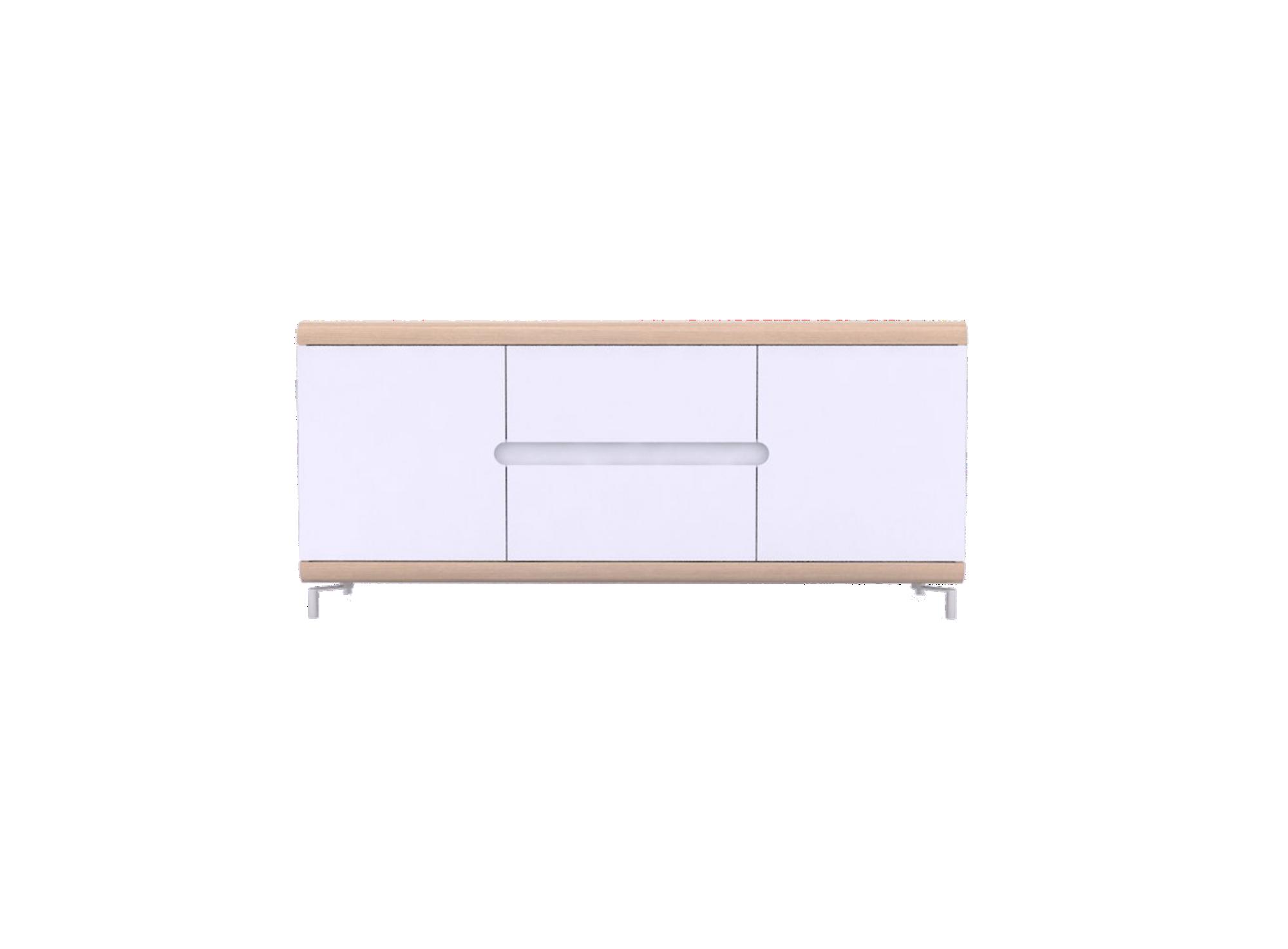 Bahut bas 2portes 2tiroirs che ne/blanc structure panneaux de particu ...