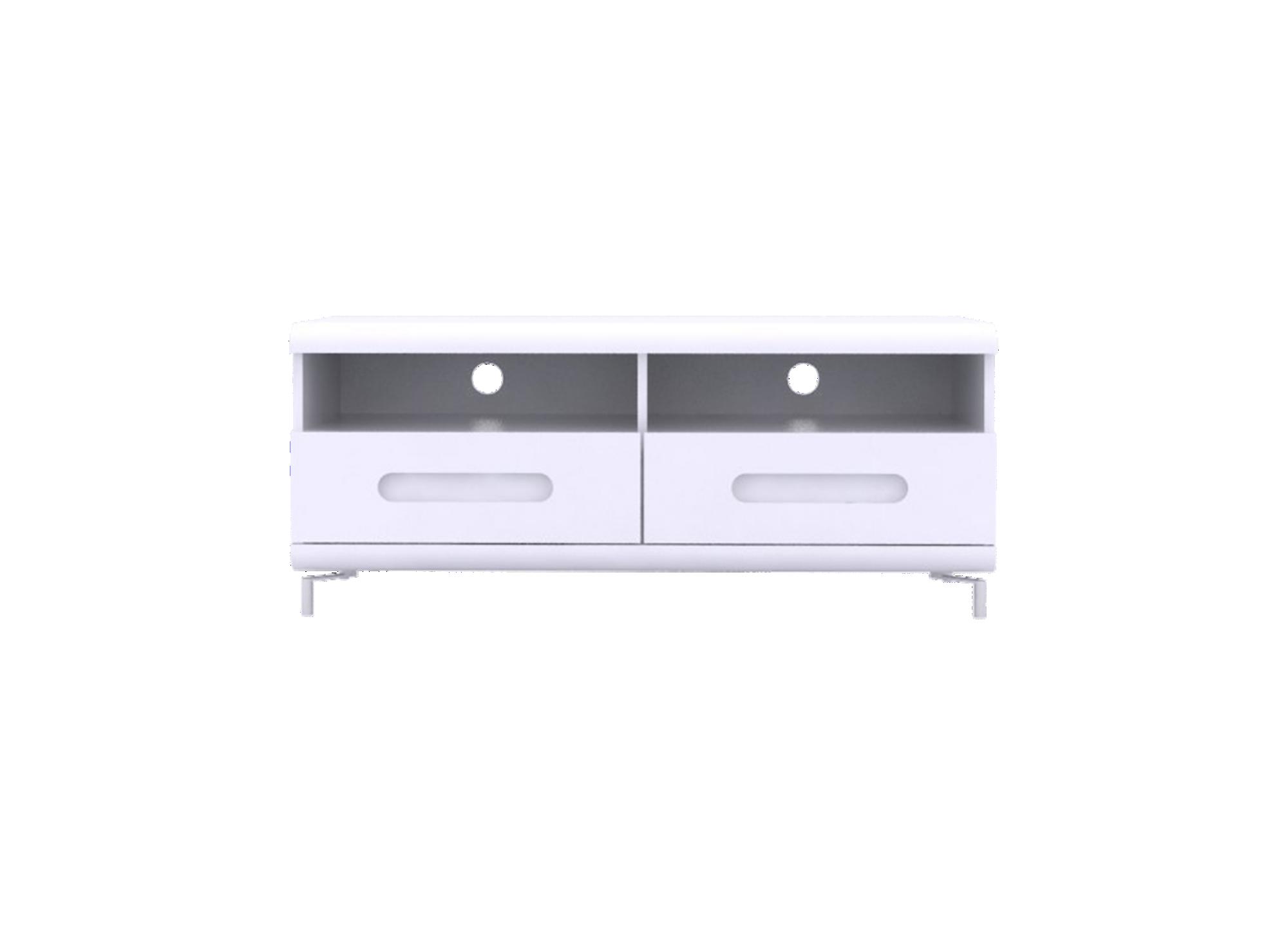 Meuble tv 2tiroirs blanc/4 bandeau couleur structure en panneaux de p ...