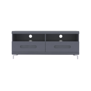 FLY-meuble tv 2 tiroirs gris et bandeau gris