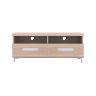 FLY-meuble tv 2 tiroirs chene et bandeau blanc