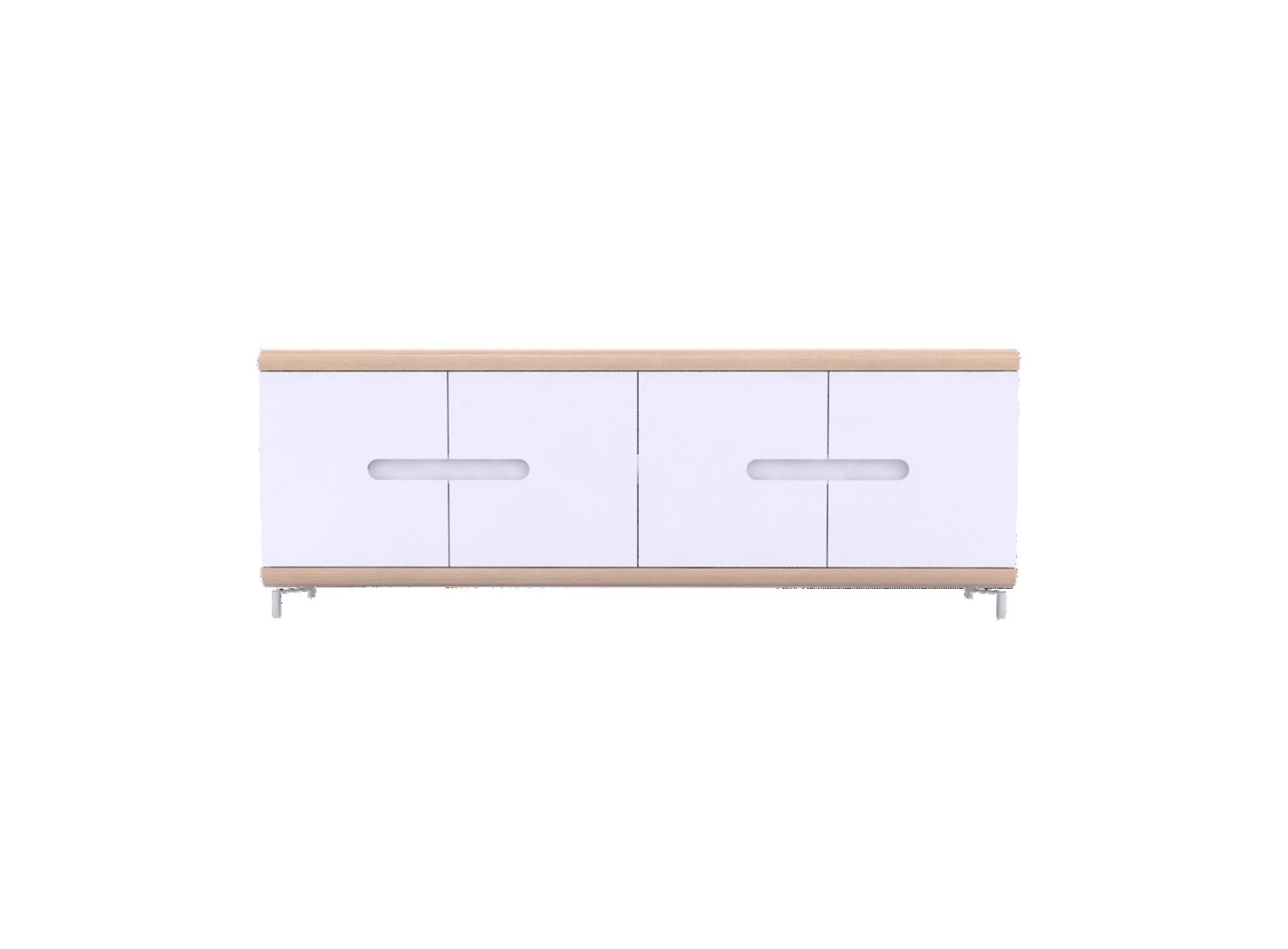 Rangement 4portes chene /blanc. structure panneau de particules + pan ...
