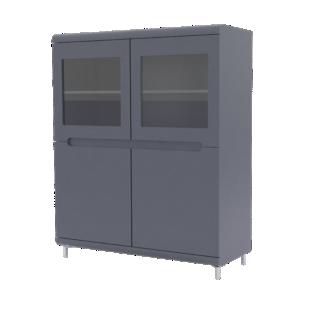 FLY-vitrine 4 portes gris/bandeaux gris