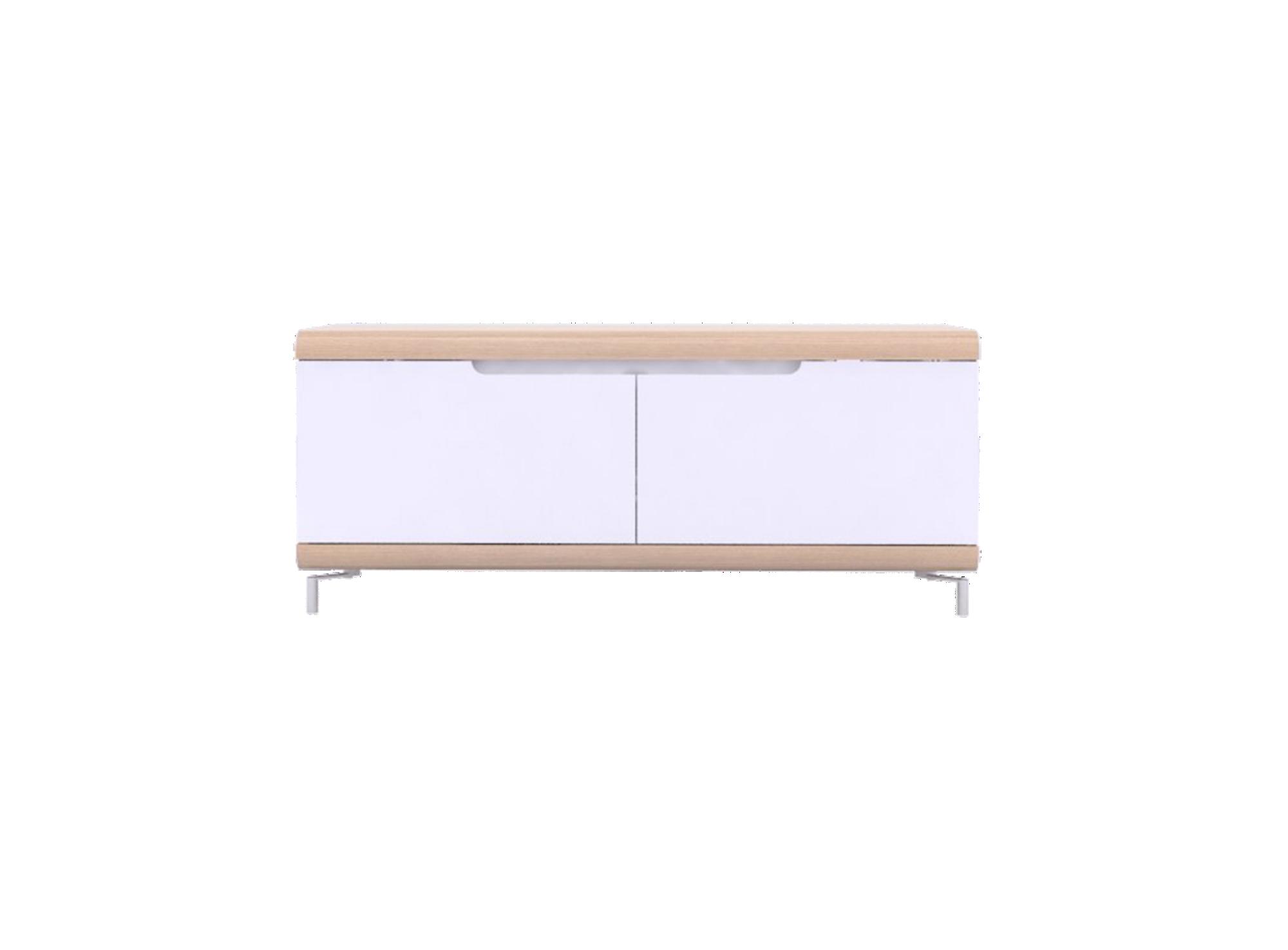Meuble tv 2abattants chene /blanc. structure panneau de particules + ...
