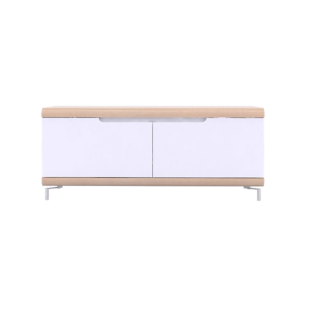 FLY-meuble tv 2 abattants chene/blanc