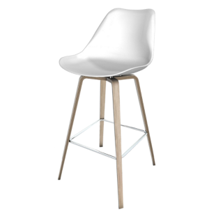 FLY-tabouret bar bois/blanc