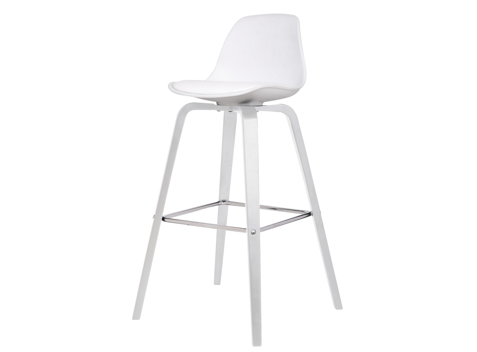 Tabouret bar blanc/blanc pietement en chene finition vernis cellulosi ...