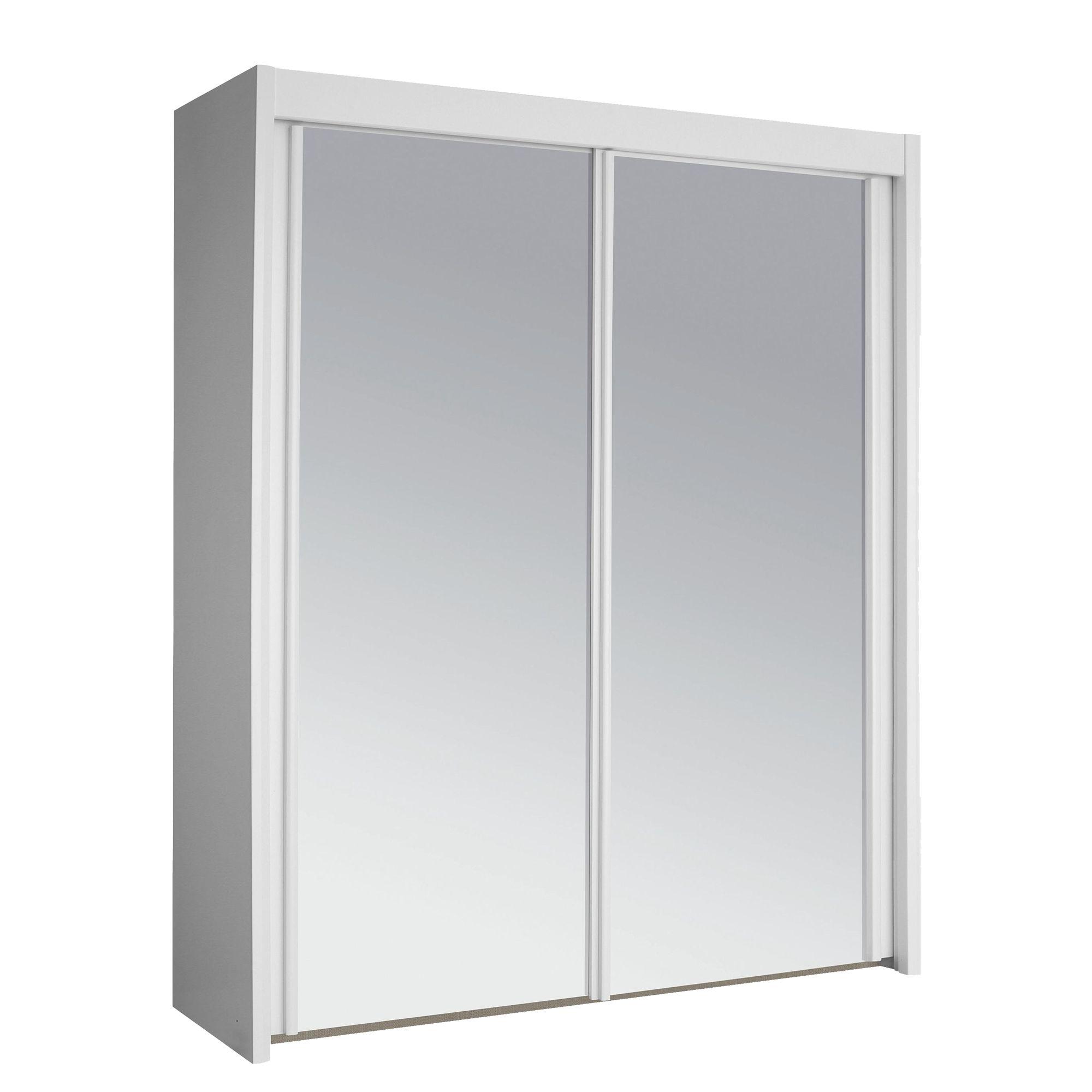 Armoire 2 portes coulissantes l150 blanc miroir Armoire