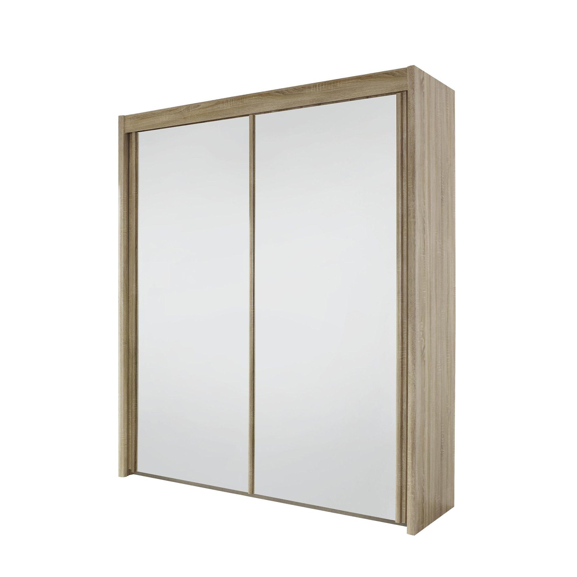 Armoire 2 portes coulissantes l150 sonoma miroir