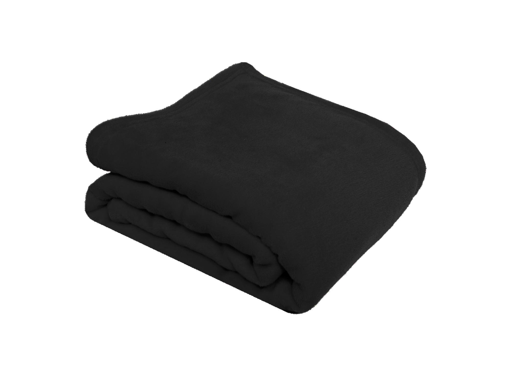 Plaid 130x170 100% polyester coloris noir densite 200g/m2 lavable e ...