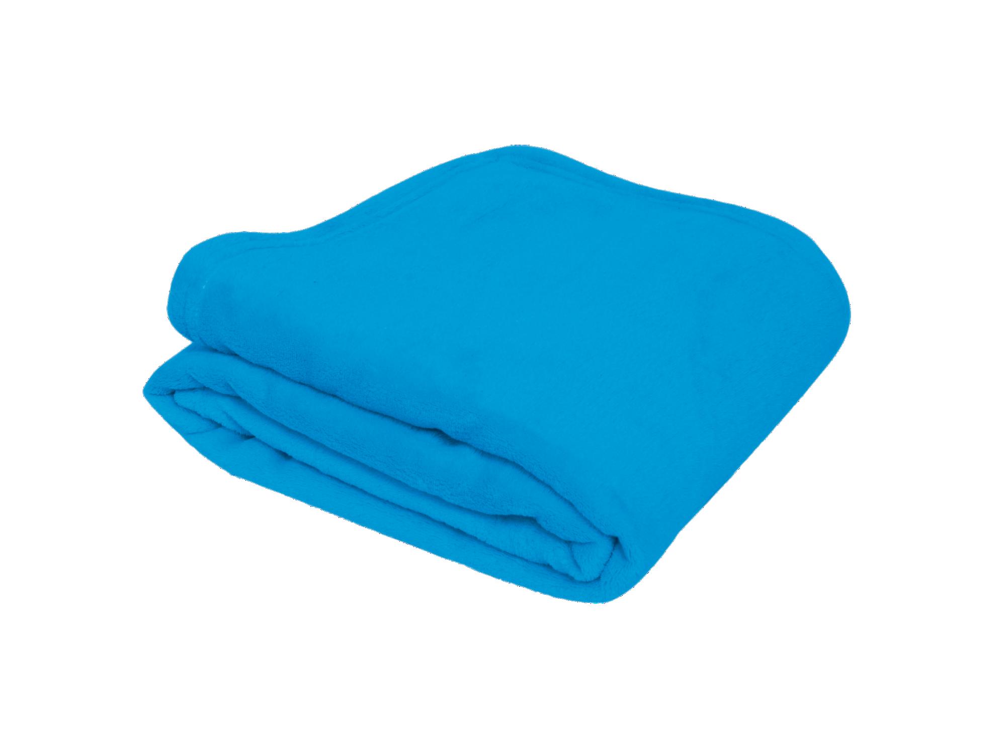 Plaid 130x170  100% polyester coloris bleu lavable en machine a 30 de ...