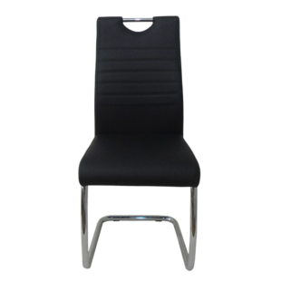 FLY-chaise chrome/pu noir