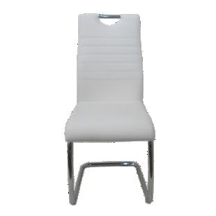 FLY-chaise chrome/pu blanc