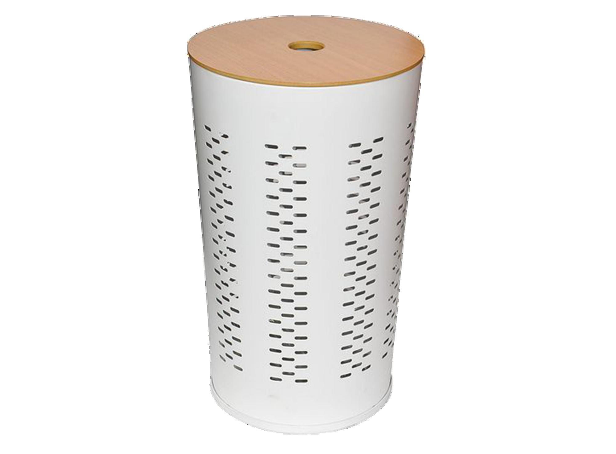 Lingere d35cm h47cm en inox laque , couvercle en panneau de fibre de ...