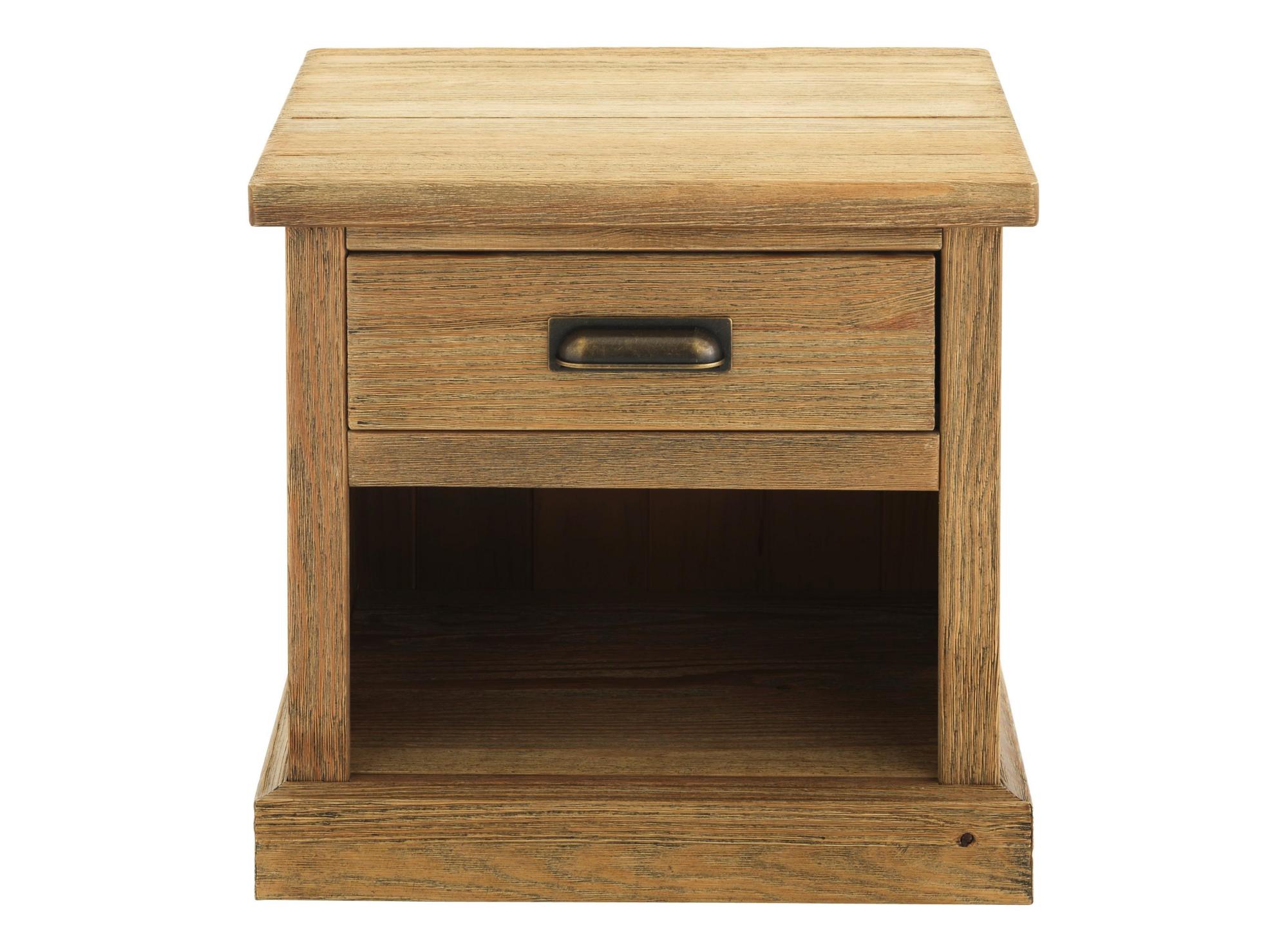 Chevet 1 tiroir, 1 niche. en pin massif teinte miel vieilli. finition ...
