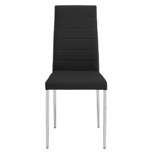 FLY-chaise pu noir/chrome