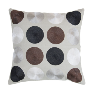 FLY-coussin coton 40x40 brode/taupe