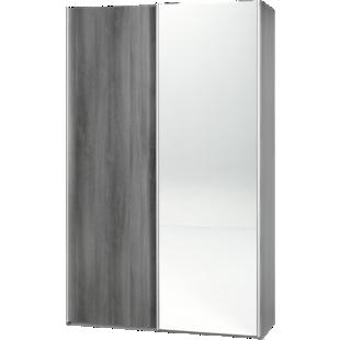 FLY-armoire 2 portes l120 p61 miroir/chene argente