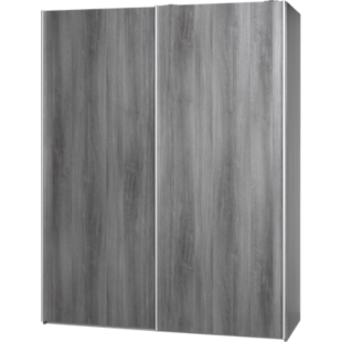 FLY-armoire 2 portes l150 p61 blanc/chene argente
