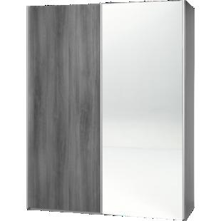 FLY-armoire 2 portes l150 p61 miroir/chene argente