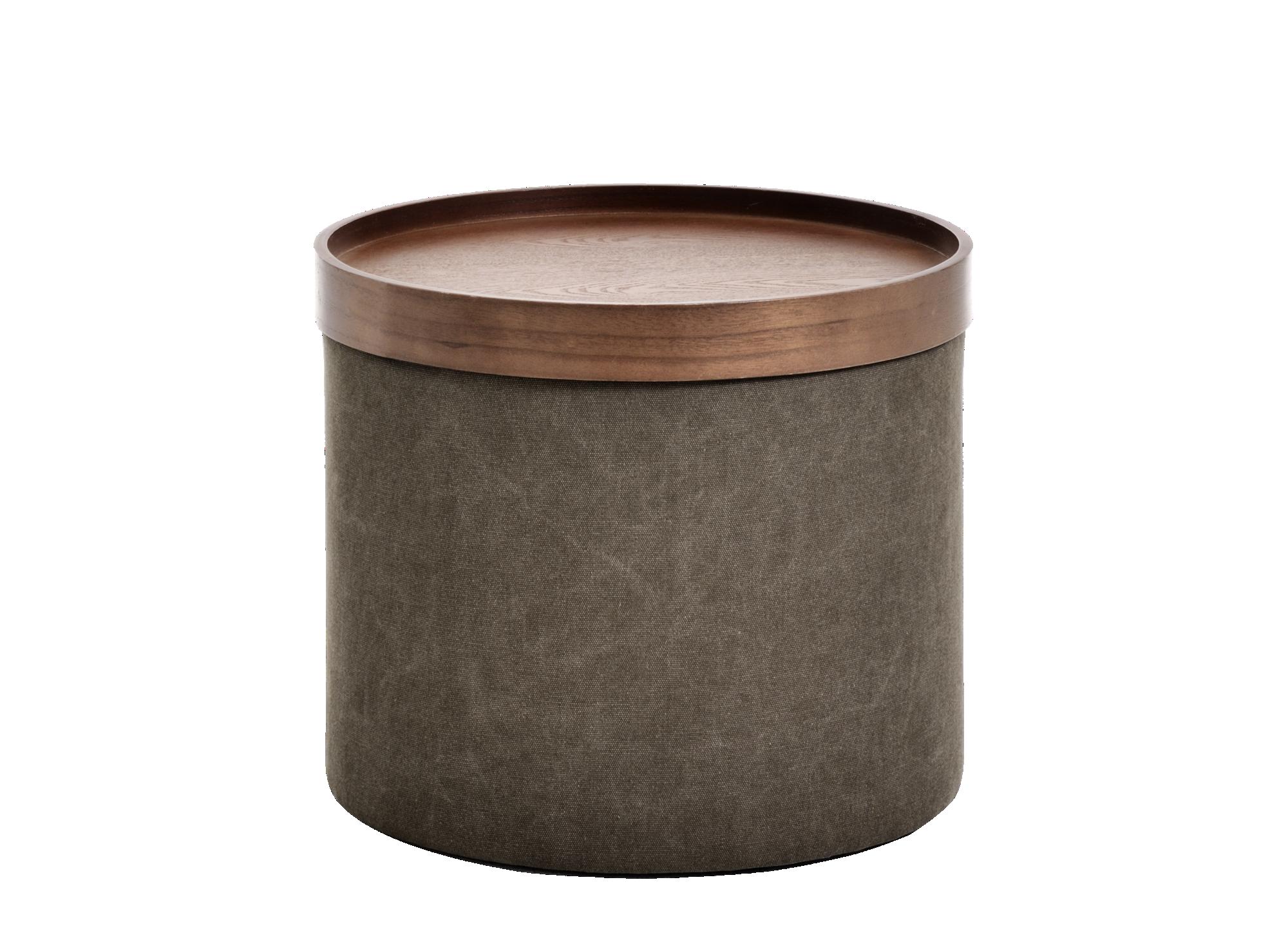 Pouf brun avec plateau structure en panneau contreplaque de sapin. as ...