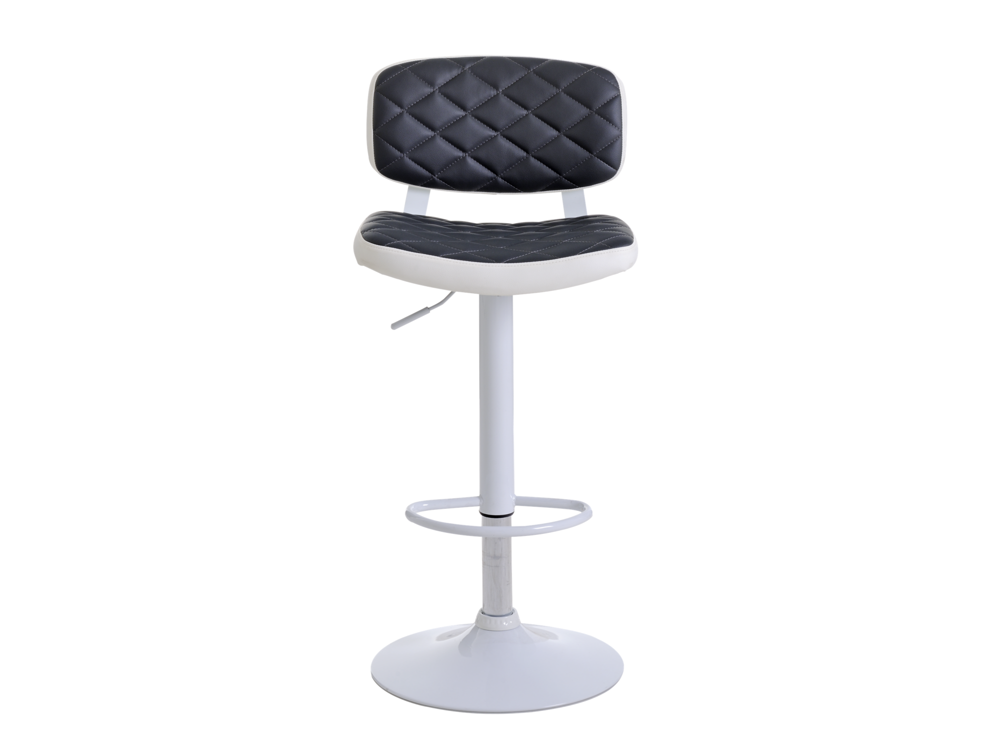 Tabouret bar gris-blanc/chrome pietement et repose pieds en metal (fe ...