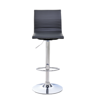 FLY-tabouret bar polyurethane gris/pied chrome
