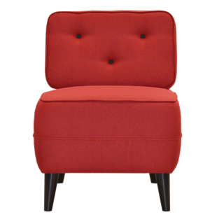 FLY-fauteuil tissu rouge boutons noir
