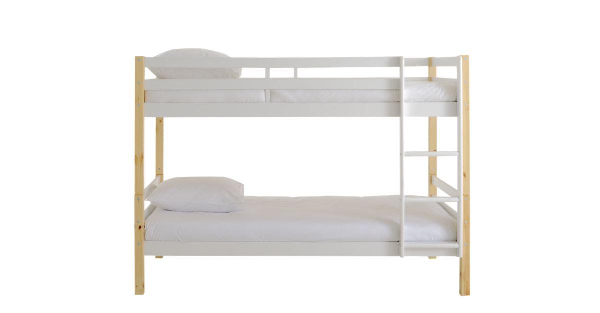 lit superpose 90x190 cm pin blanc pieds naturel fly. Black Bedroom Furniture Sets. Home Design Ideas